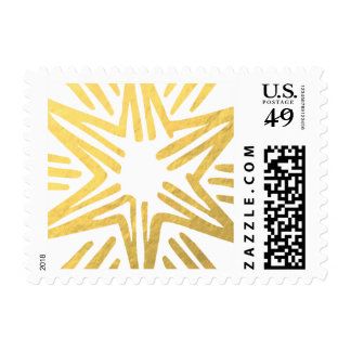 Personalized Trendy Gold Foil Star Festive Holiday Postage
