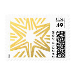 Personalized Trendy Gold Foil Star Festive Holiday Postage Stamp