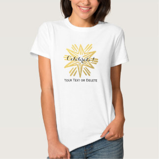 Personalized Trendy Gold Foil Star Festive Holiday Tee Shirt