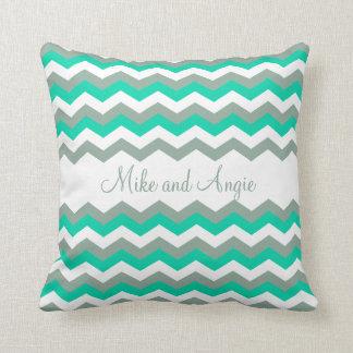 Personalized Trendy Mint Gray and White Chevron Throw Pillow