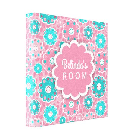 Personalized trendy pink and aqua floral canvas print