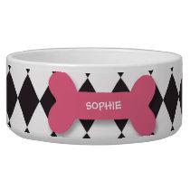 Personalized trendy pink dog bone pet food bowl