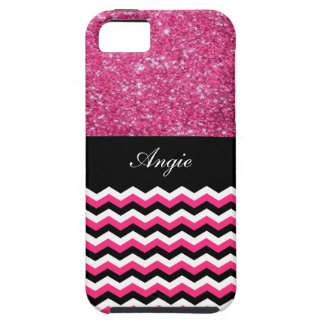 Personalized Trendy Pink Glitter & Chevron Bling iPhone SE/5/5s Case