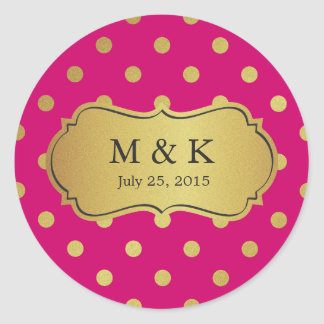 Personalized Trendy Pink Gold Polka Dots Classic Round Sticker