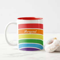 Personalized Trendy Rainbow Modern Pattern Girls Two-Tone Coffee Mug