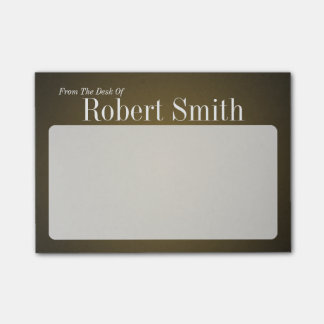 Personalized Trendy Tan and Black Grainy Post-it® Notes