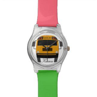 Personalized Trendy Yellow School Bus Wristwatch