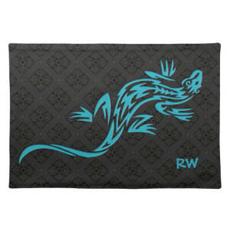 Personalized Tribal Blue Lizard Cloth Placemat