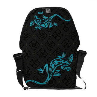 Personalized Tribal Blue Lizard Courier Bags