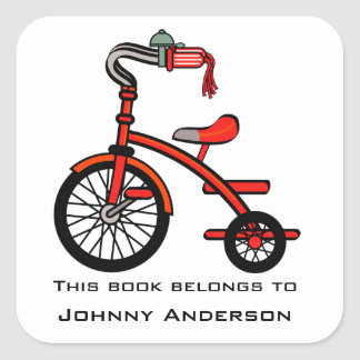 Personalized Tricycle Bookplate Sticker