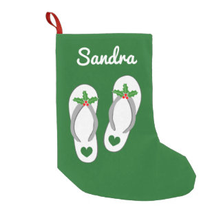 Personalized tropical beach flip flop slippers small christmas stocking