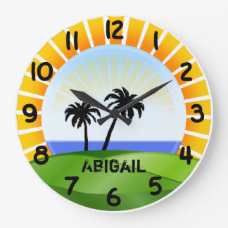 Personalized Tropical Beach Wall Clock