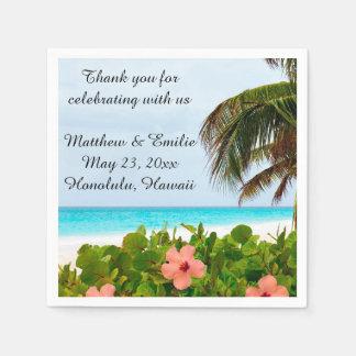 Personalized Tropical Beach Wedding Napkins