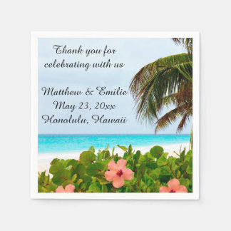 Personalized Tropical Beach Wedding Napkins Standard Cocktail Napkin