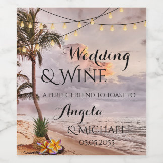 Personalized Tropical Beach Wedding Wine Label