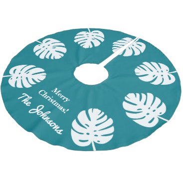 Christmas Themed Personalized tropical Christmas palm leaf Holiday Brushed Polyester Tree Skirt