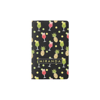Personalized Tropical Cocktail & Fruit Pattern Pocket Moleskine Notebook