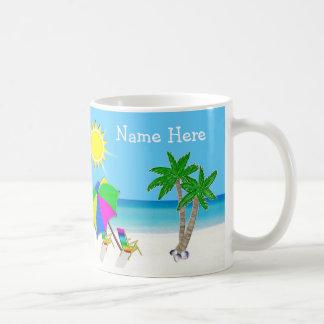 Personalized Tropical Coffee Mugs, 2 Text Boxes Classic White Coffee Mug