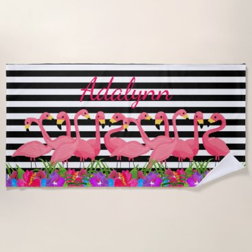 Beach Themed Personalized Tropical  Flamingo and Stripes Beach Towel