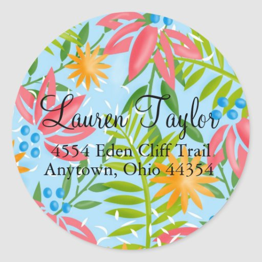 Personalized Tropical Floral Stickers