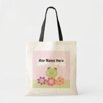 Personalized Tropical Frog w/Flowers Tote Bag