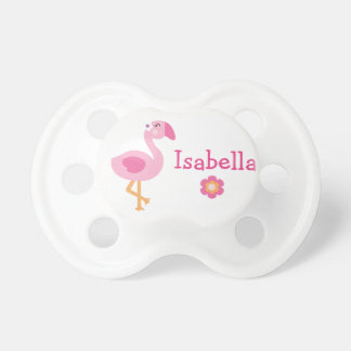 "Personalized ""Tropical Garden Flamingo""  Pacifier BooginHead Pacifier"