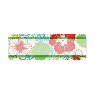 Personalized Tropical Hibiscus Hawaiian Floral Label