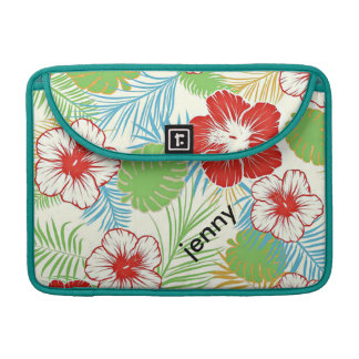 Personalized Tropical Hibiscus Hawaiian Floral MacBook Pro Sleeve