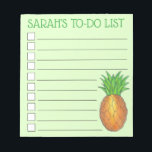 "Personalized Tropical Island Pineapple To Do List Notepad<br><div class=""desc"">List-style note pad design features an original marker illustration of a tropical Hawaiian island pineapple, on a green background. Just personalize with your information. Lots of additional illustrated notepads are also available from this shop. This design is also available on other products. Don&#39;t see what you&#39;re looking for? Need help...</div>"