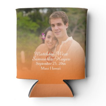 Beach Themed Personalized Tropical Orange Beach Wedding Photo Can Cooler