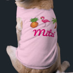 """Personalized Tropical Pineapple Flamingo Palm Tree Shirt<br><div class=""""desc"""">Features an original marker illustration of a pineapple,  palm tree,  and tropical pink flamingo! Great for an island getaway. Simply personalize with your pet&#39;s name. Coordinating pet accessories available!</div>"""
