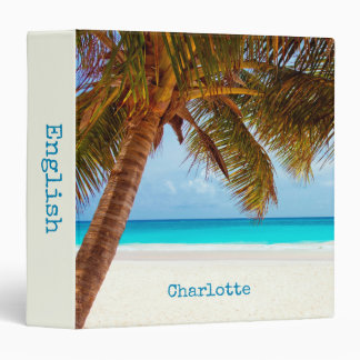 Personalized Tropical Relaxing Blue Beach Scene 3 Ring Binder