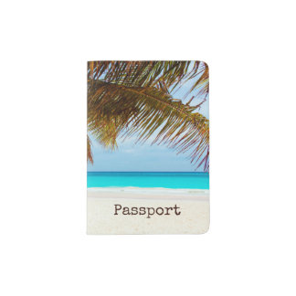 Personalized Tropical Relaxing Blue Beach Scene Passport Holder