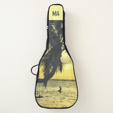 Beach Themed Personalized Tropical Relaxing Sunset Beach Guitar Case
