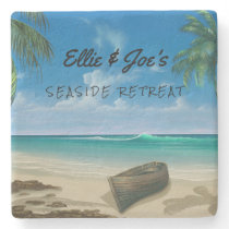 Personalized Tropical Scene Stone Coaster