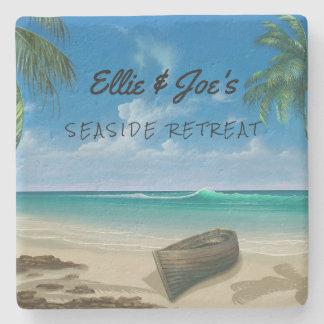 Personalized Tropical Scene Stone Coaster