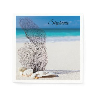 Beach Themed Personalized Tropical Shell Coral Cocktail Napkins