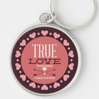 Personalized True Love Typology & Hearts Keychain