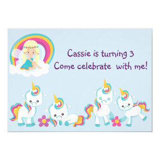 Personalized Turning Three Unicorn Birthday Card