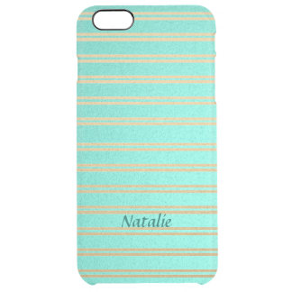 Personalized Turquoise and Gold Shimmer Stripes Clear iPhone 6 Plus Case