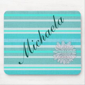 Personalized Turquoise Aqua Stripe Pattern Mouse Pad
