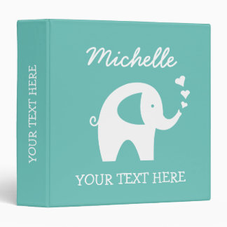 Personalized turquoise binder with baby elephant