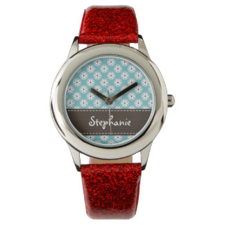 Personalized Turquoise Blue and Red Daisy Watch