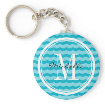 Personalized turquoise chevron pattern key chain