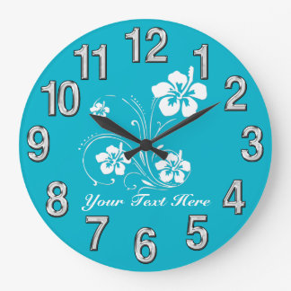 Personalized Turquoise Clocks, Flowers and Text Wallclocks