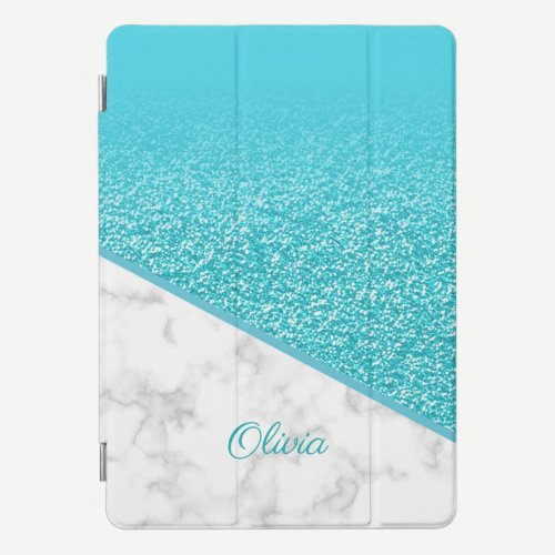 Personalized Turquoise Glitter - White Marble iPad Pro Cover