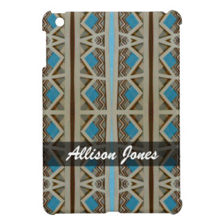 Personalized Turquoise Grey Southwestern Pattern Case For The iPad Mini