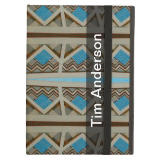 Personalized Turquoise Grey Southwestern Pattern iPad Air Case