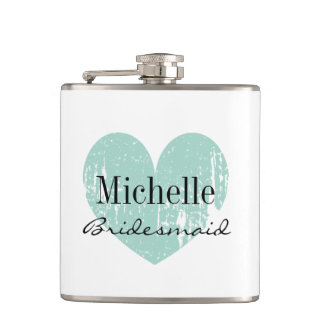 Personalized turquoise heart flask for bridesmaid