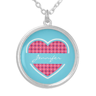 Personalized Turquoise Heart Pattern Necklace Round Pendant Necklace